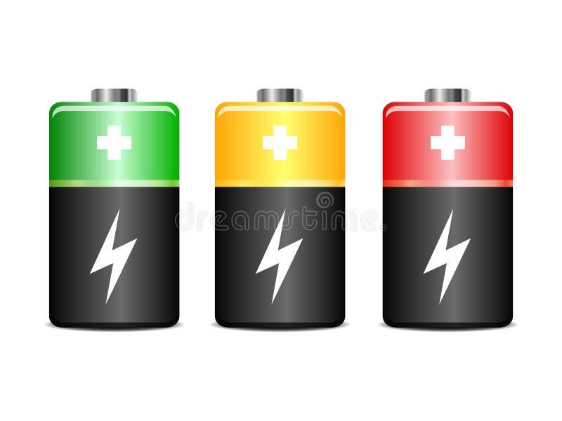 Set bateryjnego ładunku równy wskaźnik - wektor ilustracji