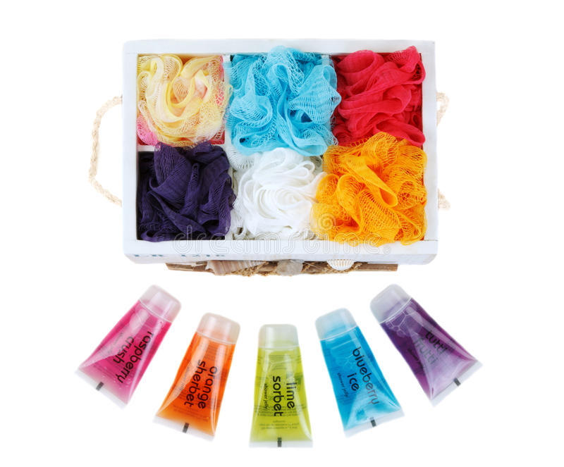 Set for bath colour sponges stock photography