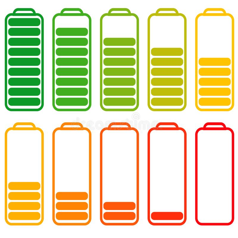 Set batteries with different level charge, vector energy, accumulator with decreasing level of energy charging. Set of batteries with different level of charge stock illustration