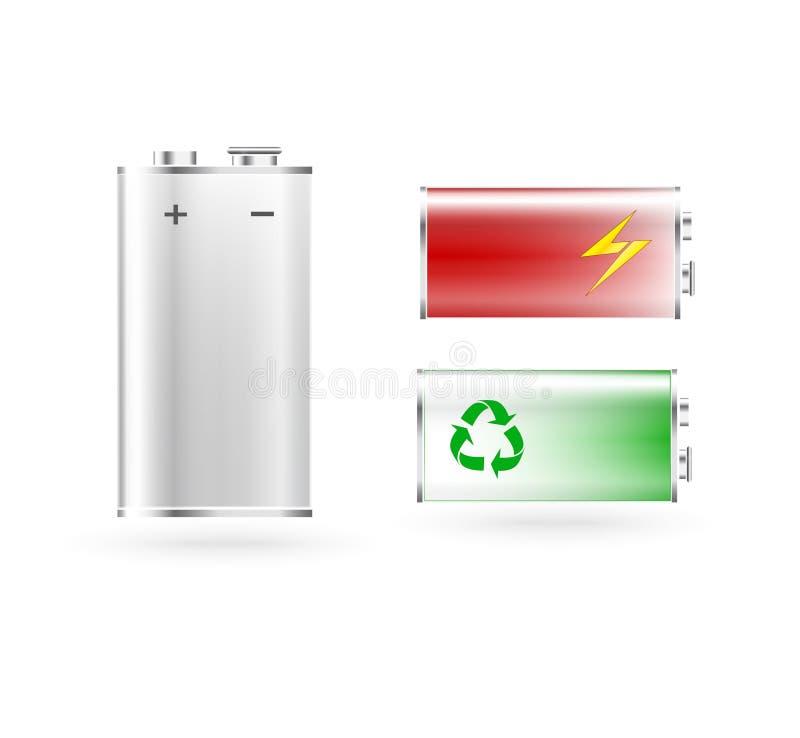 Set of batteries stock illustration