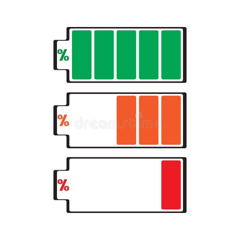 Set Batteriestufenikonen Voll, teilweise, geringe Energie Auch im corel abgehobenen Betrag vektor abbildung
