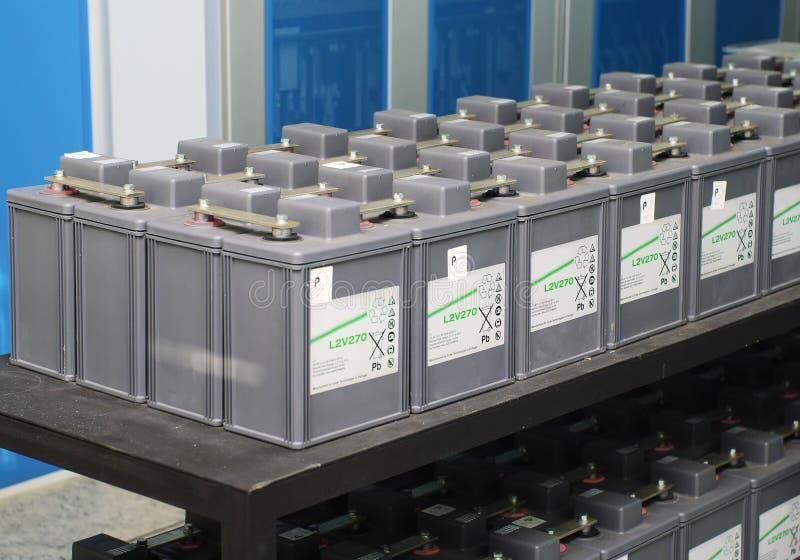 Set of battery. Power supply accumulator unit on telephony exchange stock images