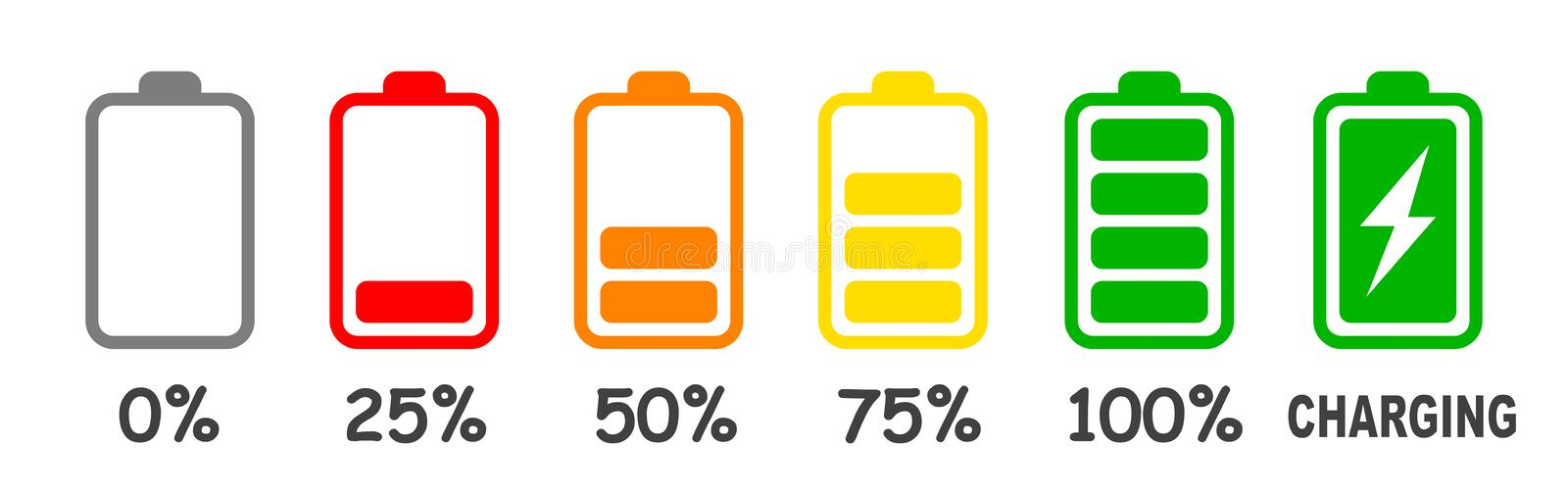 Set of battery charge level indicator in percent - vector. Set of battery charge level indicator in percent - stock vector stock illustration