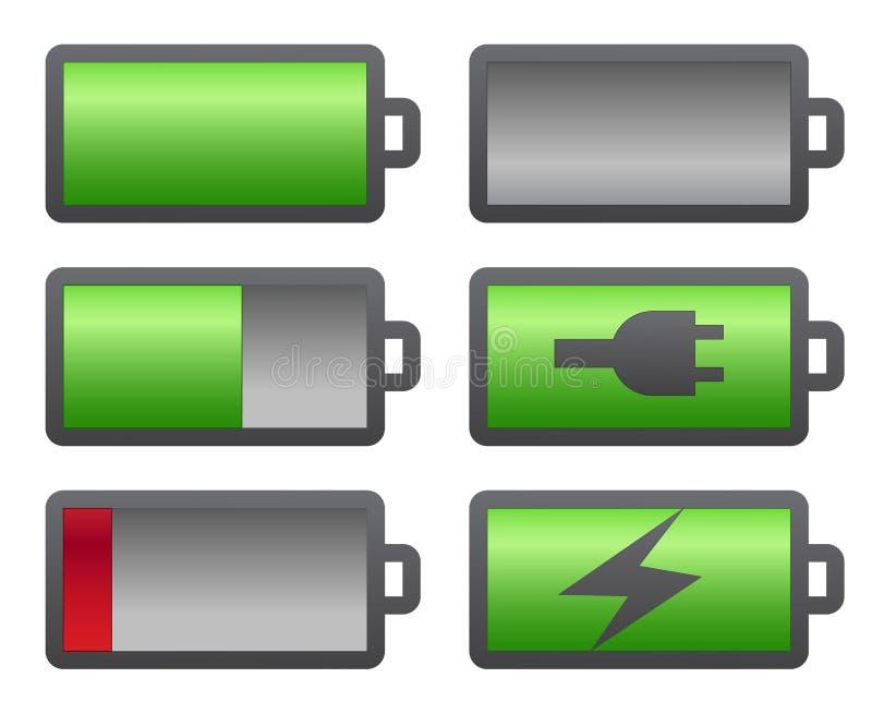 Set of battery charge level indicators. On white royalty free illustration