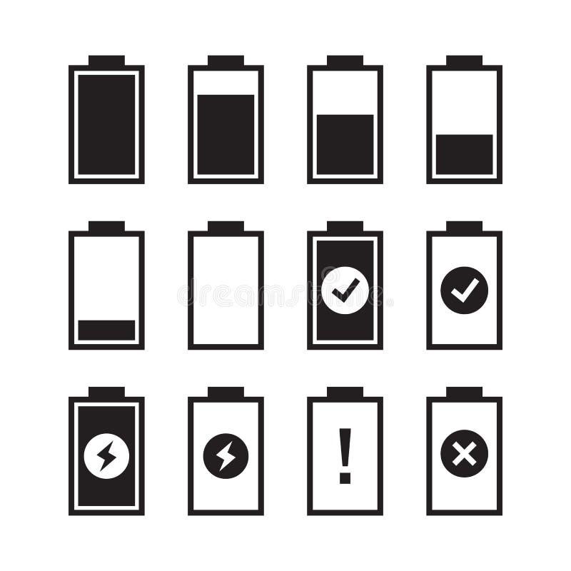 Set of battery charge level indicators. Vector illustration. EPS10 stock illustration