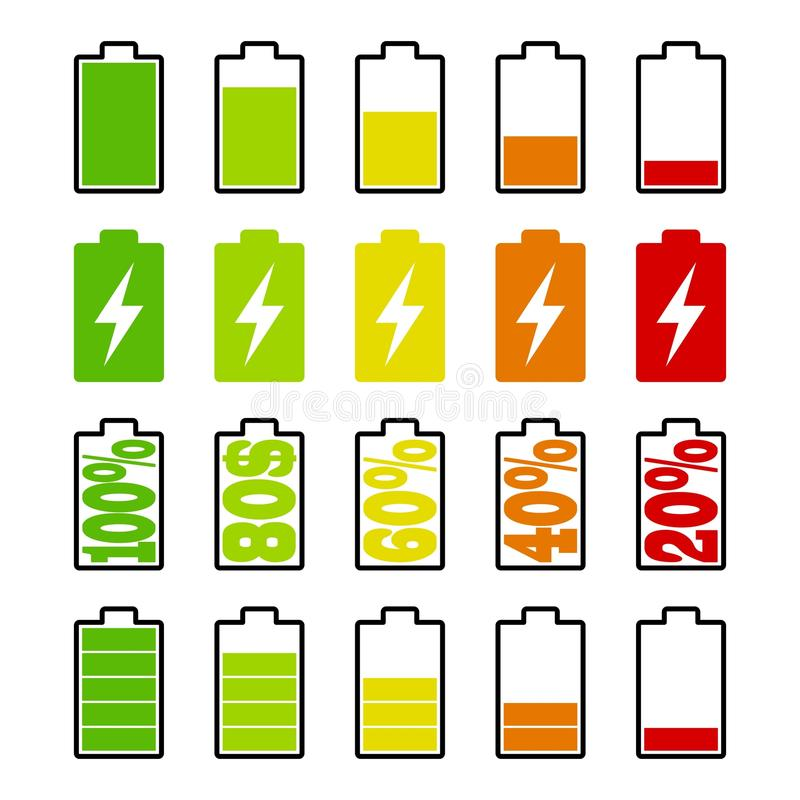 Set of battery charge level indicators on white background. Cell phone, smartphone electric charge, battery energy icons. Vector illustration royalty free illustration