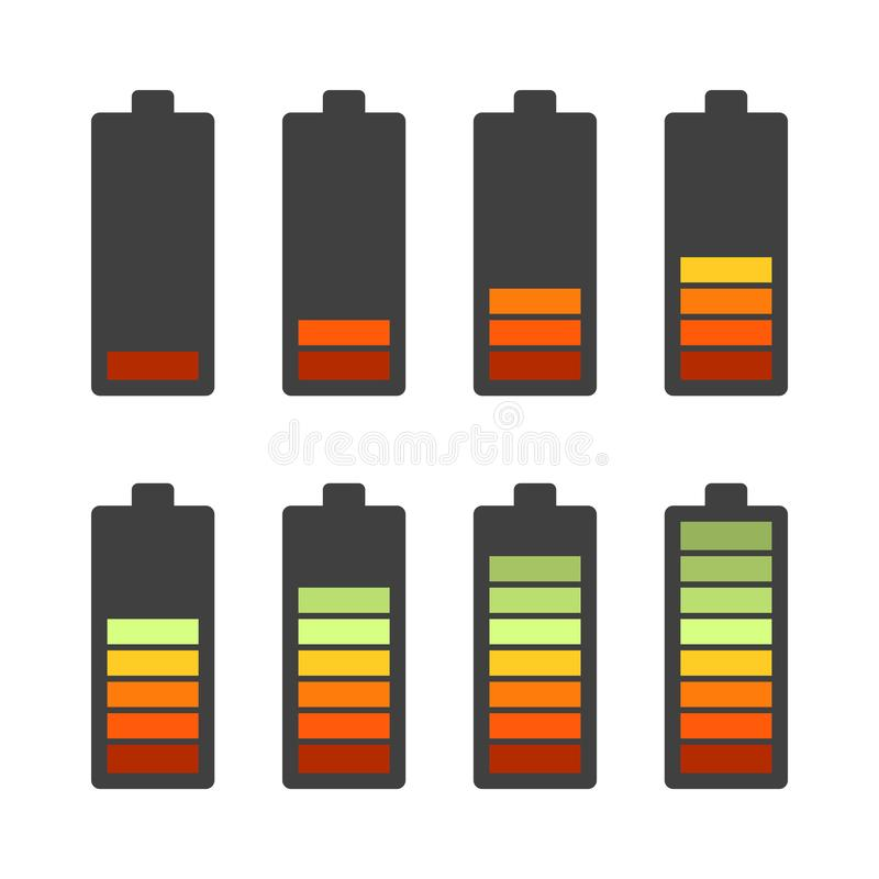 Set of battery icons. Sort by charge level. Black shell Vector illustration on white background. stock illustration