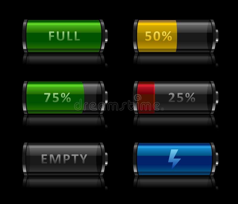 Set of battery level icons. Vector illustration of set of black glossy battery level icons on black background royalty free illustration