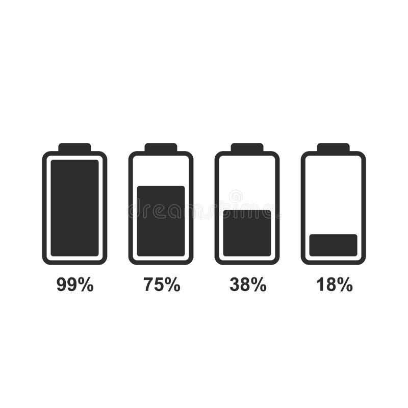 Set of battery level indicator icons. Battery level indicators. Flat battery icons for design royalty free illustration