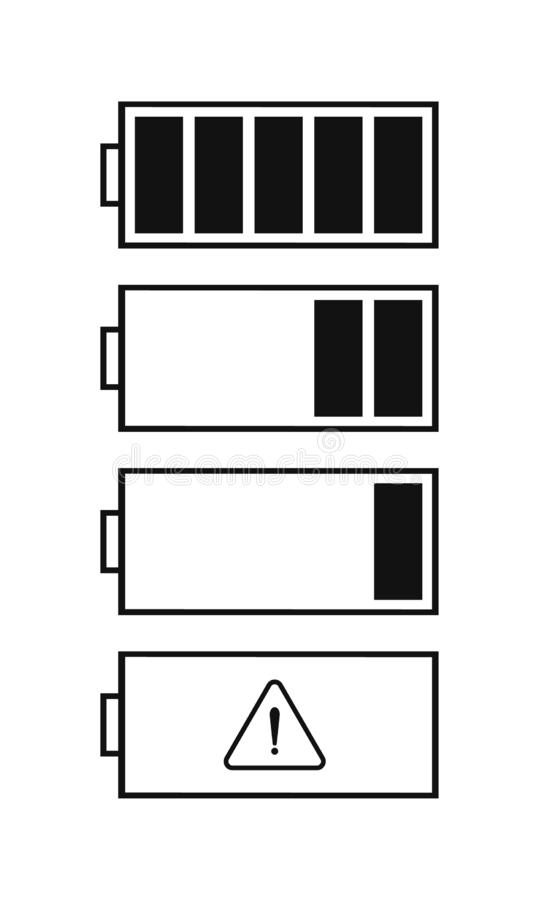 Set of battery level indicator icons. Flat battery icons for the interface of various types of devices. Ready vector battery level indicator icons vector illustration