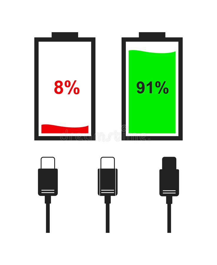 Set of battery level indicator icons. Flat color icons of battery and type-c cables isolated on white background. Vector battery level indicators royalty free illustration