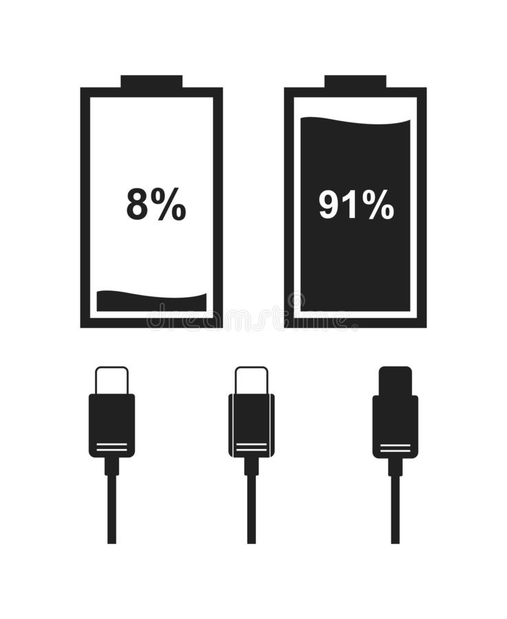 Set of battery level indicator icons. Icons of battery level indicator and type-c cable in black color. Vector icons for interface design stock illustration