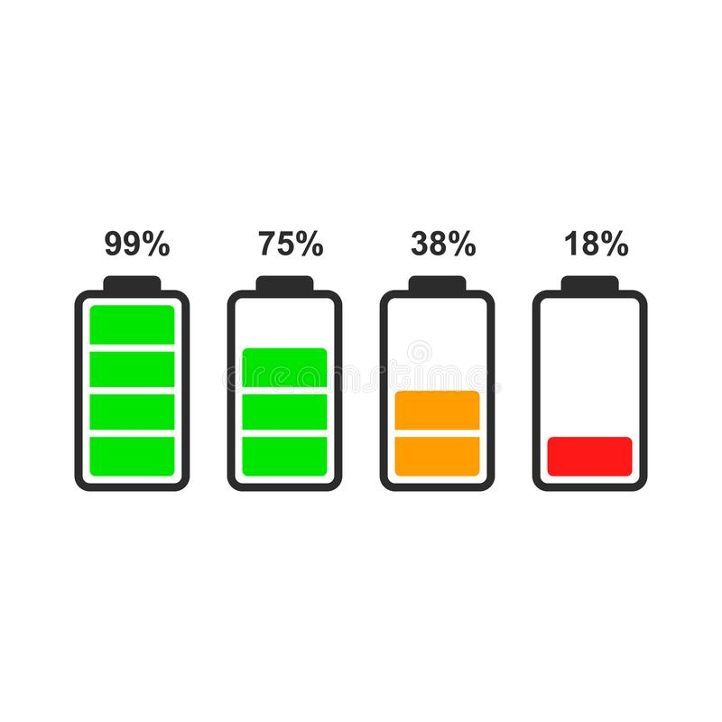 Set of battery level indicator icons. Set of battery level indicator icons isolated on white background. Vector icon for ui design of phone, tablet and other vector illustration