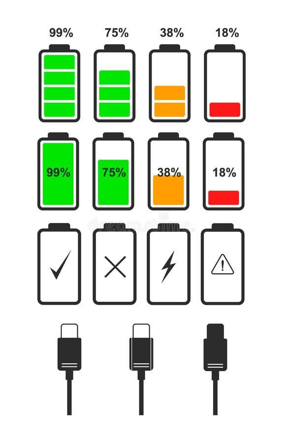 Set of battery level indicator icons. Set of flat icons of battery level indicators and type-c cables. Vector icons of battery and USB cable for the design of royalty free illustration