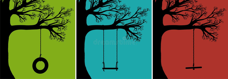 Set Baum-Schwingen lizenzfreie abbildung