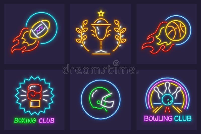 Set bawić się neonowe ikon piłki ilustracji