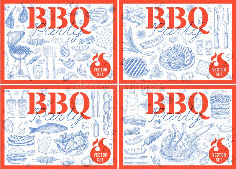 Set bbq barbecue grill posters elements grilled food sausages chicken french fries, steaks fish BBQ bar vegetables party welcome. vector illustration