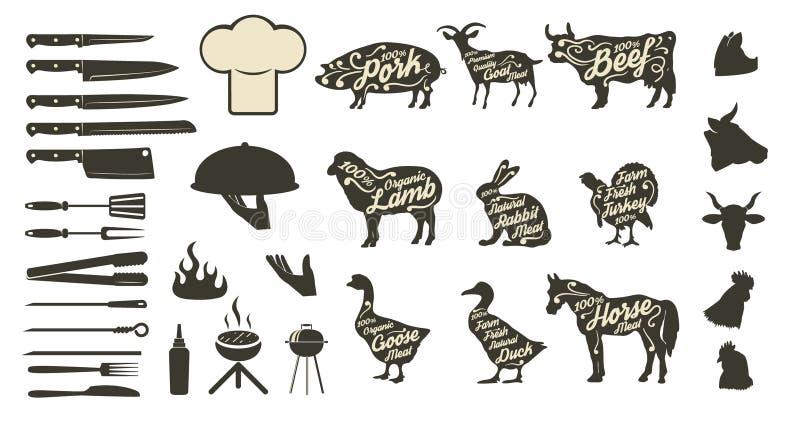 Set bbq i grilla menu projekta elementy ilustracji