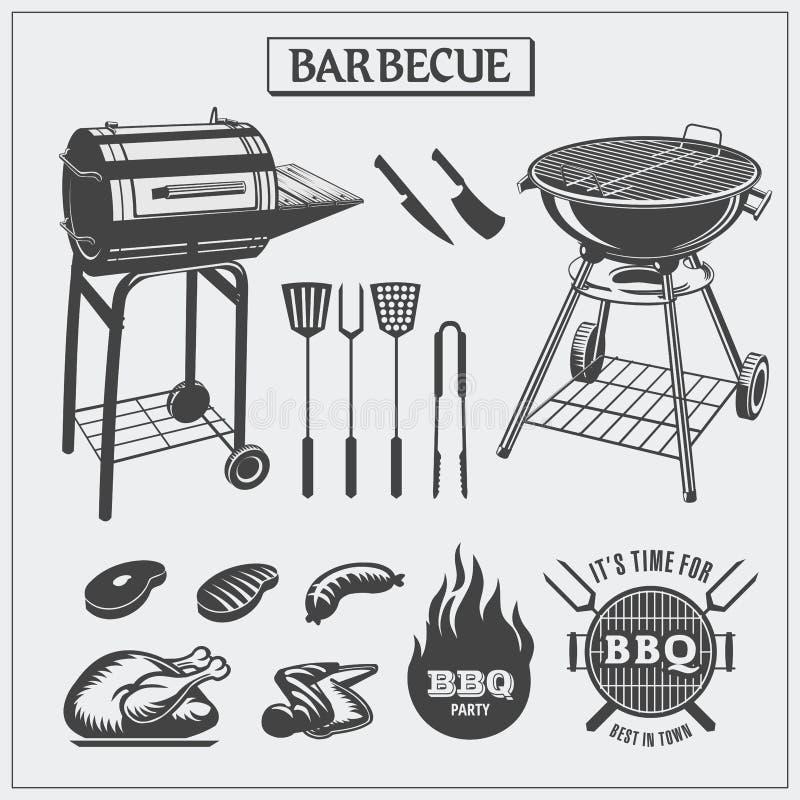 Set BBQ symbole i etykietki ilustracji