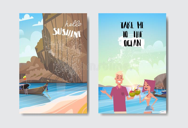 Set beach boat mountain couple man woman summer vacation badge Design Label lettering for logo Templates invitation royalty free illustration