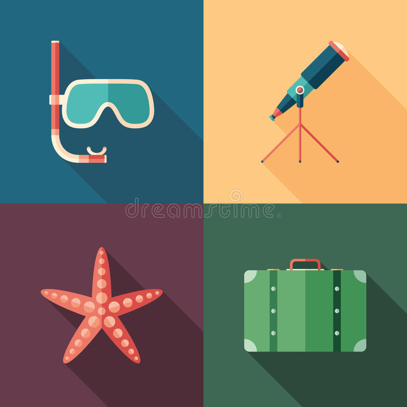 Set of beach flat square icons with long shadows. royalty free illustration