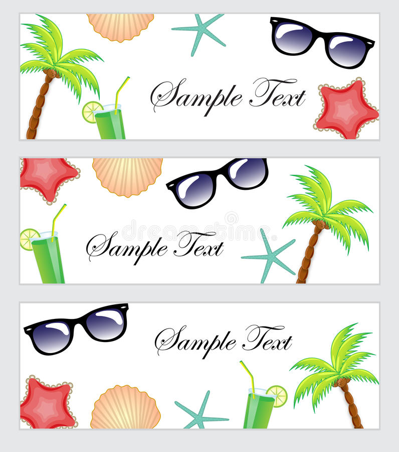 A set of beach items, accessories, tourism, travel banner. Template banner summer theme, beach. Palma, cocktail, starfish stock illustration