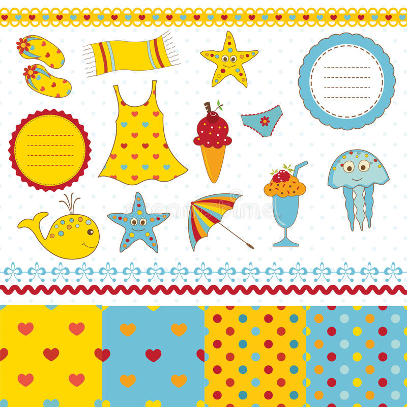 Set of sea scrapbook elements royalty free illustration