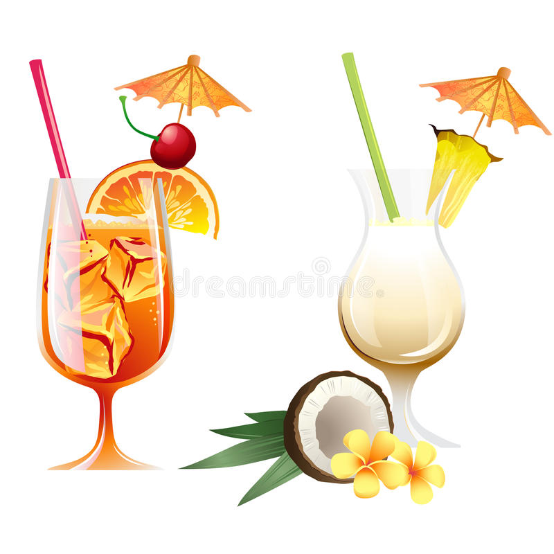 Set of beach tropical cocktails bahama mama and pona colada with. Set of Vector Illustration Icons beach tropical cocktails bahama mama and pona colada with vector illustration