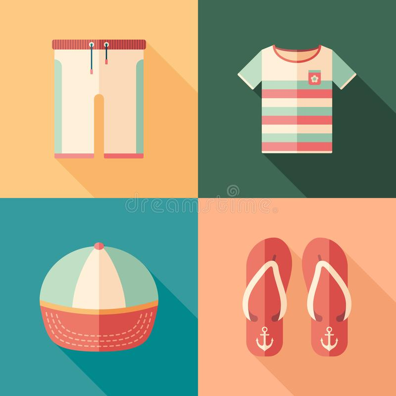 Set of beachwear flat square icons with long shadows. vector illustration