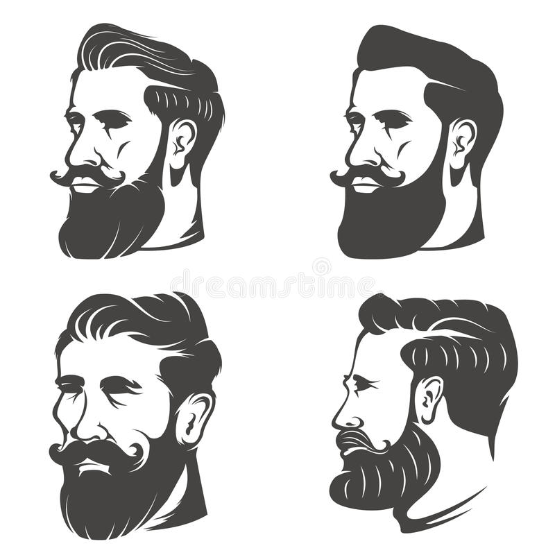 Bearded Gentleman Head In Vintage Hat. Design Elements For