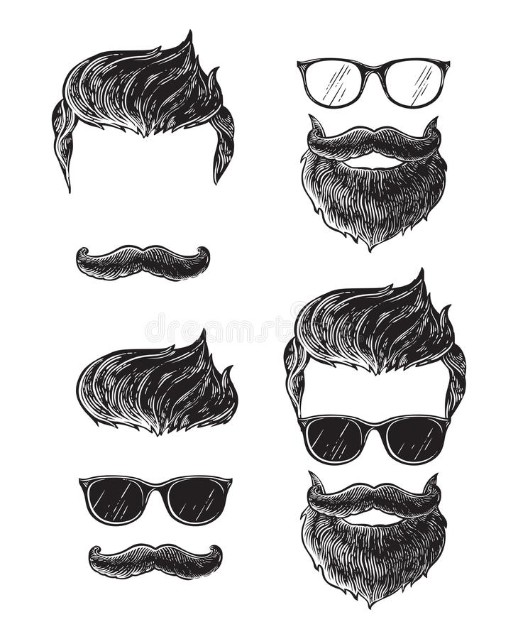 Set of bearded men faces, hipsters with different haircuts mustaches beards. Silhouettes emblems icons labels. Vector illustration vector illustration