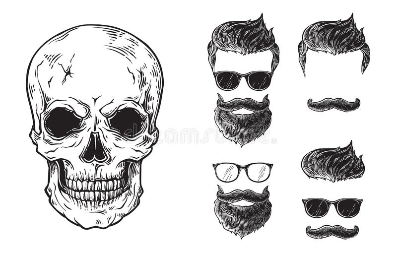 Set of bearded men faces, hipsters with different haircuts mustaches beards skull. Silhouettes emblems icons labels. Vector illustration royalty free illustration