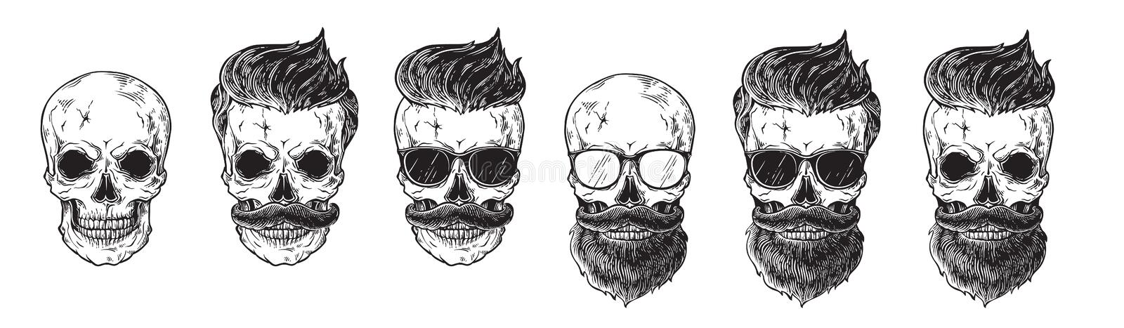 Set of bearded men faces, hipsters with different haircuts mustaches beards skull. Silhouettes emblems icons labels. Vector illustration stock illustration