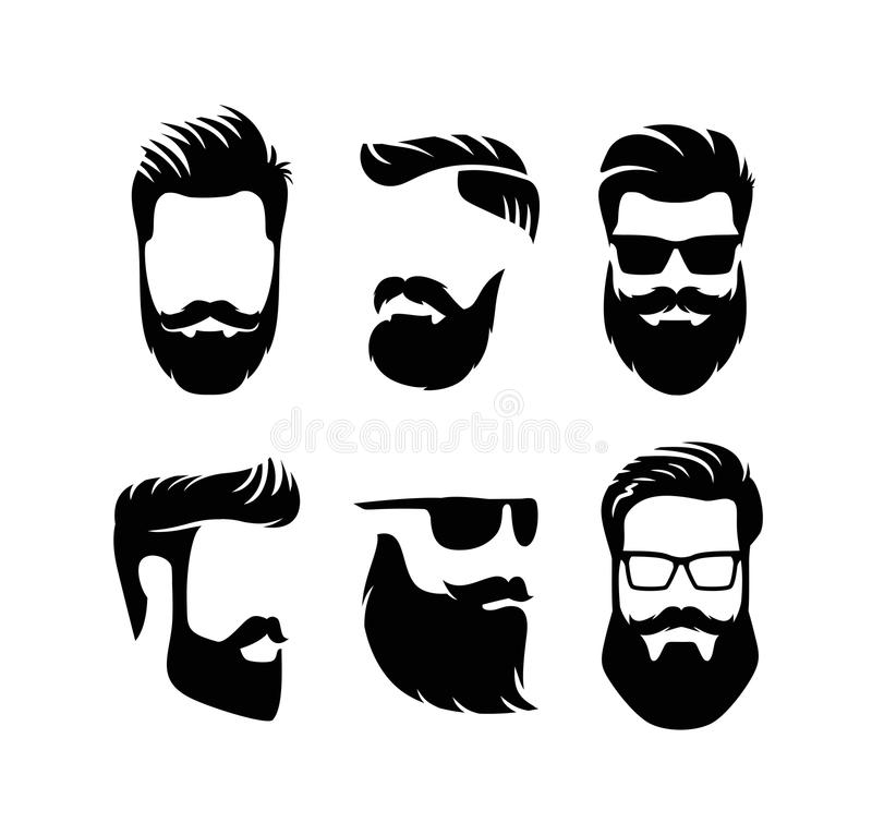 Set bearded men faces hipsters with haircuts. Vector royalty free illustration