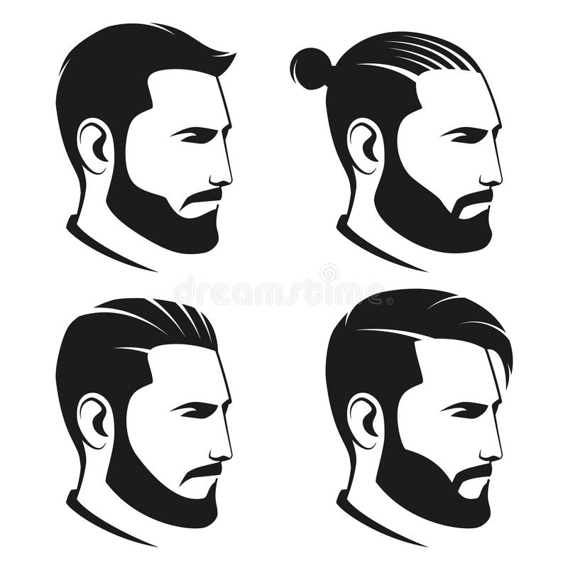 Set of bearded men hipsters isolated on white background. Vector illustration royalty free illustration