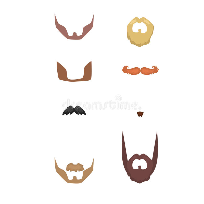 Set of beards , mustaches male . Hipster Style . Vector royalty free illustration
