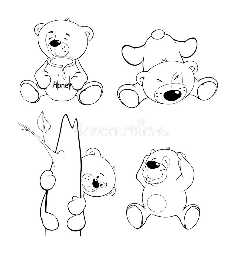 A set of bears. Coloring book. Set of lovely bears for colouring stock illustration
