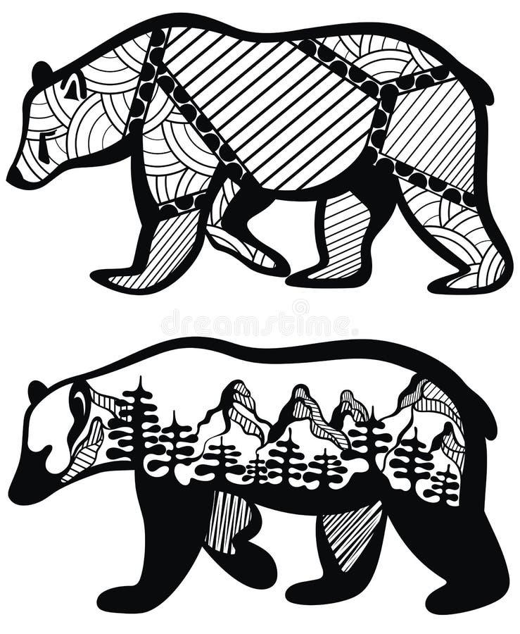 Bears symbol set - vector illustration stock illustration