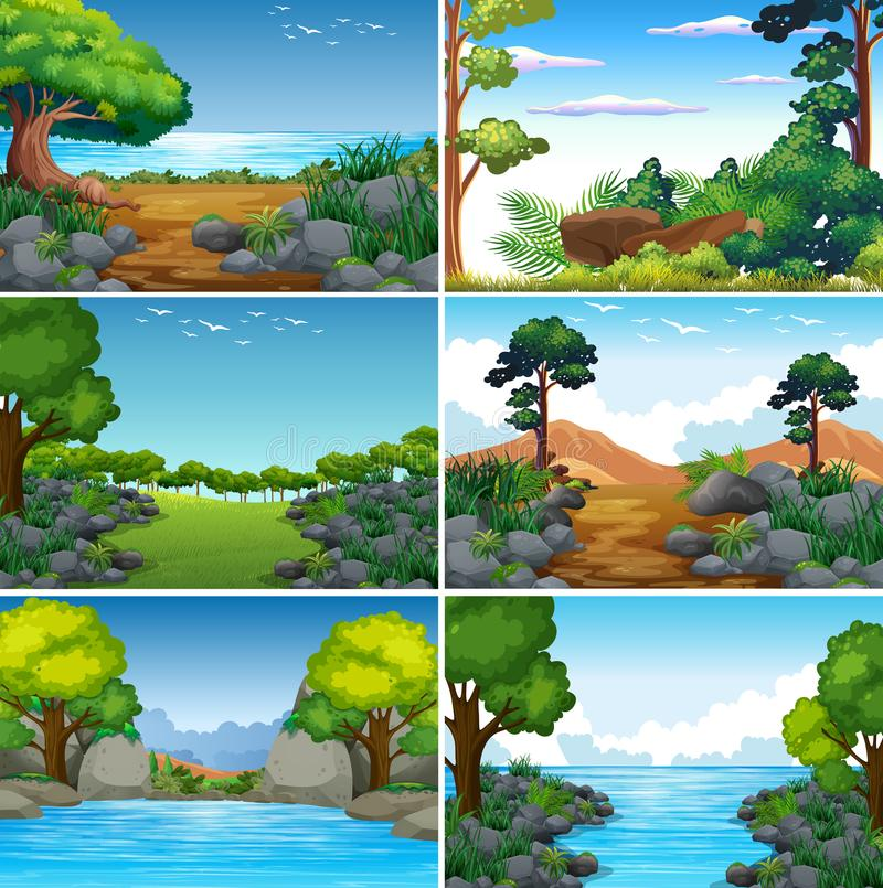 Set of Beatiful Green Nature Landscape stock illustration