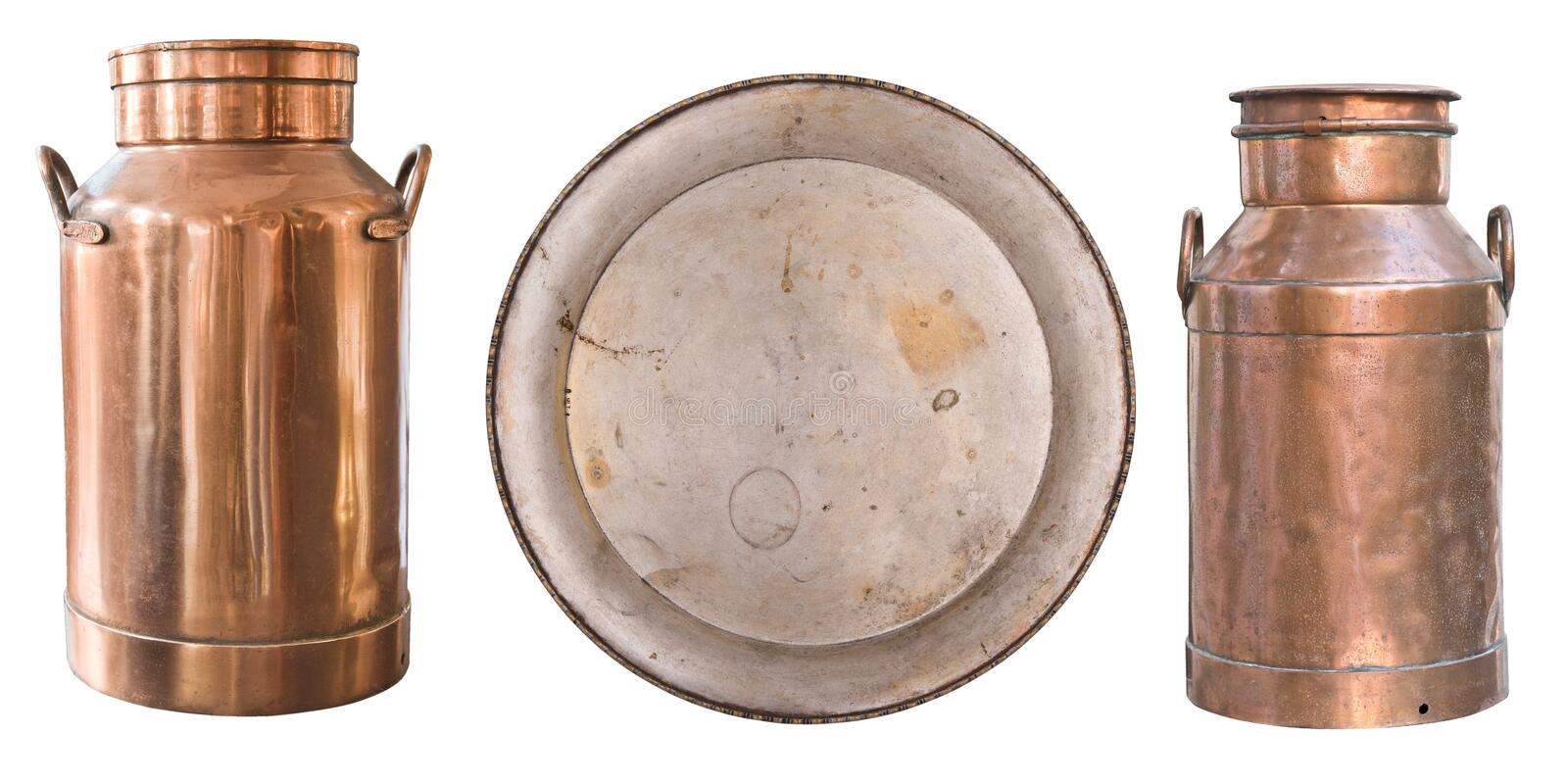Set of beautiful antique items, picture frames, two old copper milk cans and a metal plate. Retro. Vintage. Isolated on white stock image