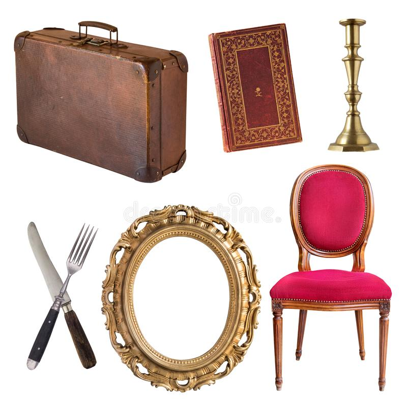 Set of beautiful antique items, Retro. Vintage. Isolated on on white royalty free stock image