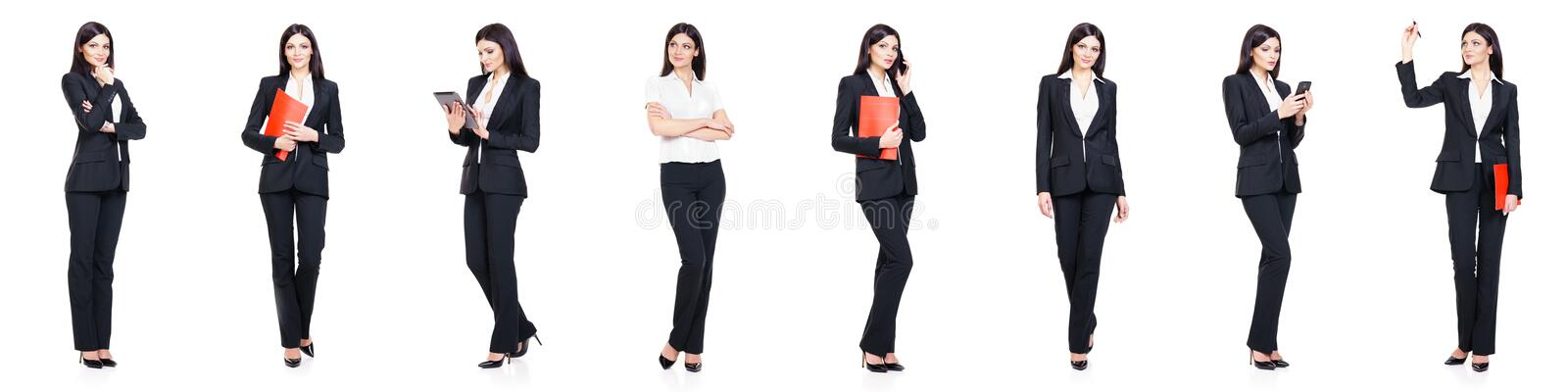 Set of beautiful, attractive businesswoman isolated on white. Business, career success concept. Set of attractive businesswoman isolated on white. Business royalty free stock image