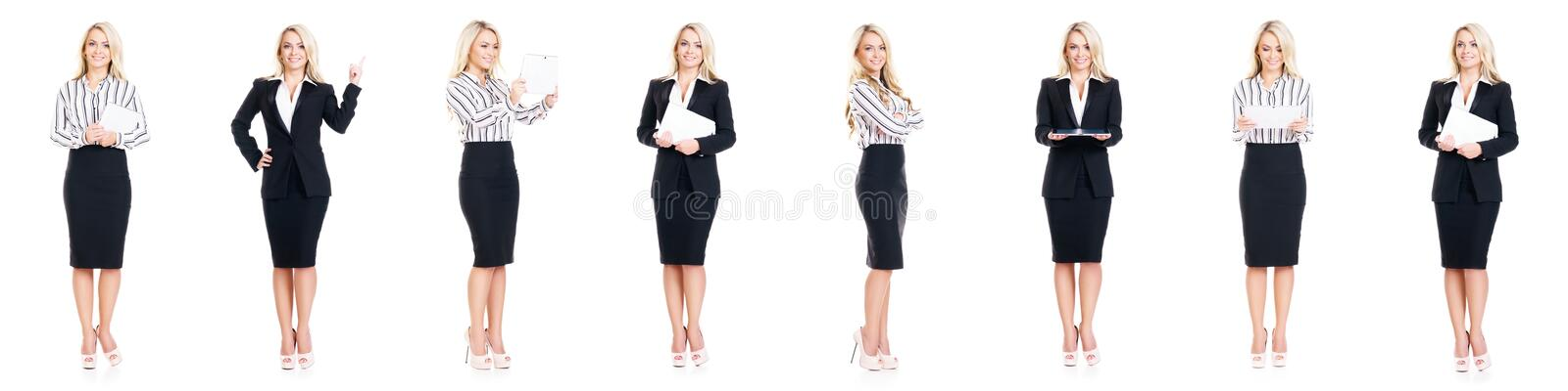 Set of beautiful, attractive businesswoman isolated on white. Business, career success concept royalty free stock photos
