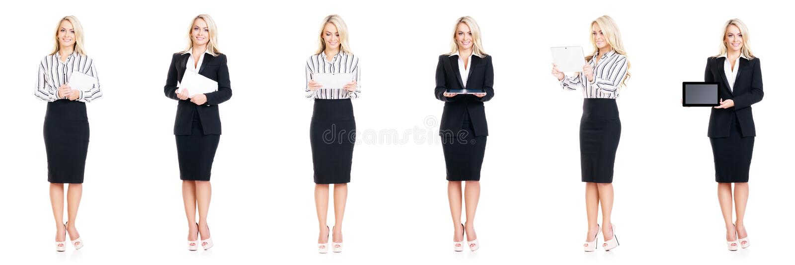 Set of beautiful, attractive businesswoman isolated on white. Business, career success concept. Set of attractive businesswoman isolated on white. Business royalty free stock photos