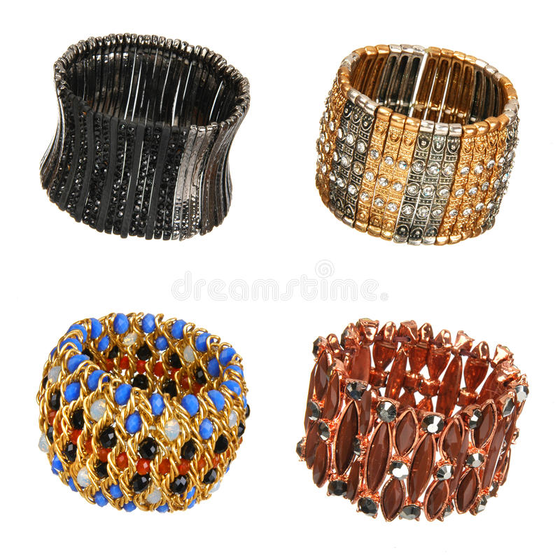 Download Set of beautiful bracelets stock image. Image of gold - 37479467