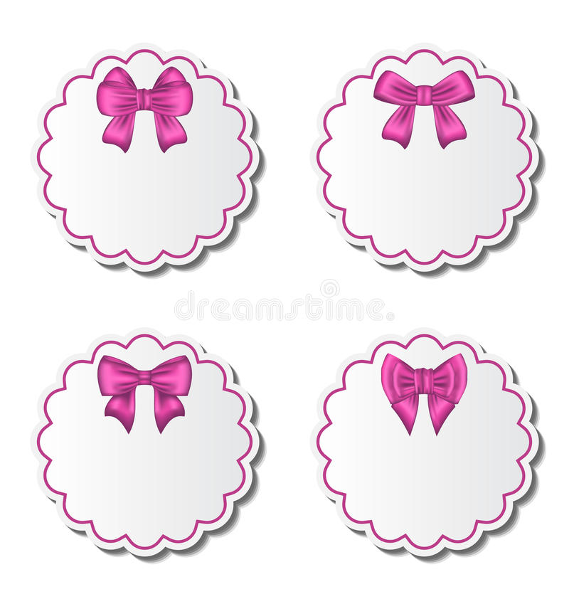 Download Set Of Beautiful Cards With Pink Gift Bows Royalty Free Stock Photo - Image: 30751295