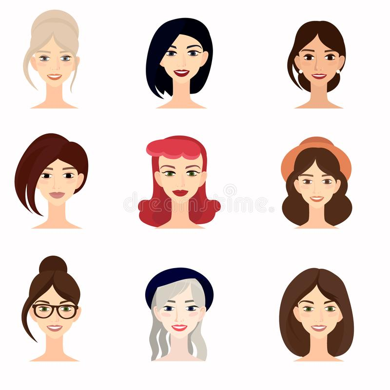 Set of beautiful faces of young girl close-up. royalty free illustration