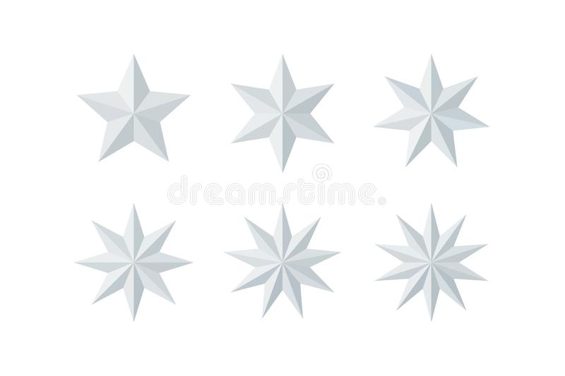 Set of beautiful faceted shiny white paper stars royalty free illustration