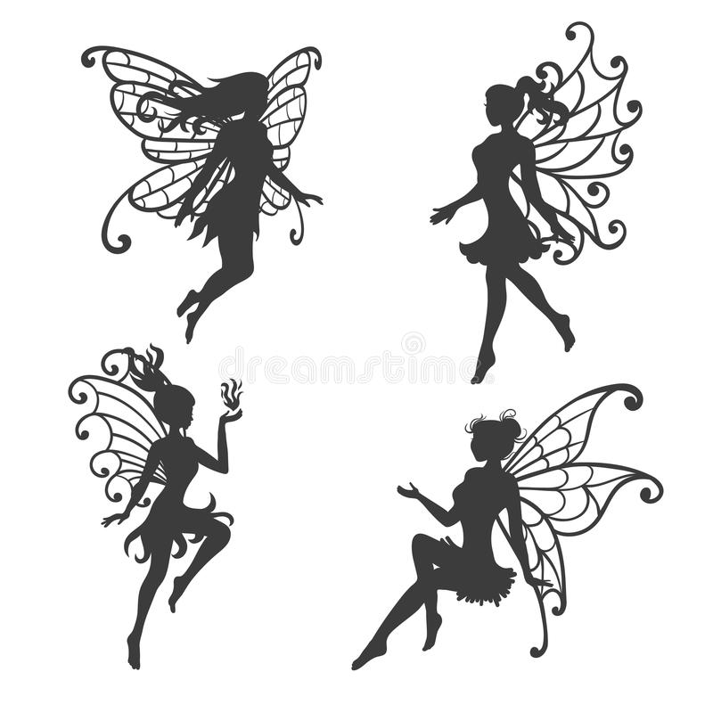 Set of beautiful Fairy silhouettes. Black and white vector collection vector illustration