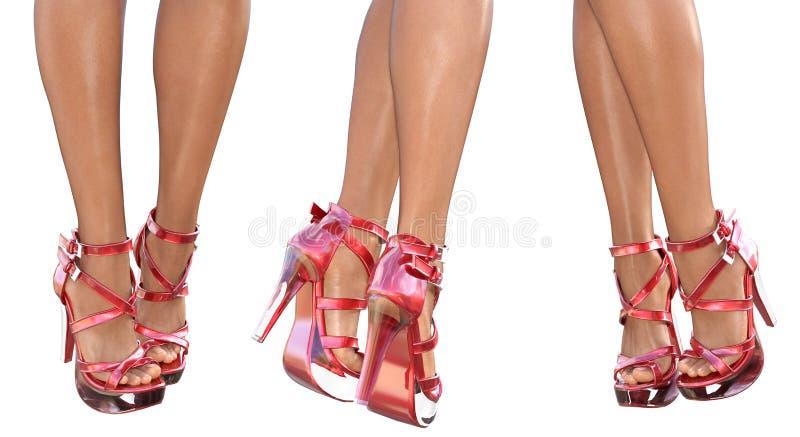 Download Set Beautiful Female Legs In Sandals High Heels. Stock Illustration - Image: 83712820